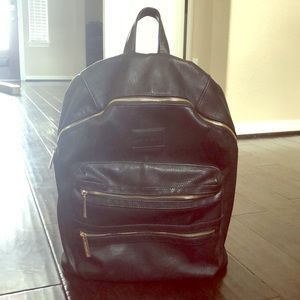 Black Leather Diaper Backpack